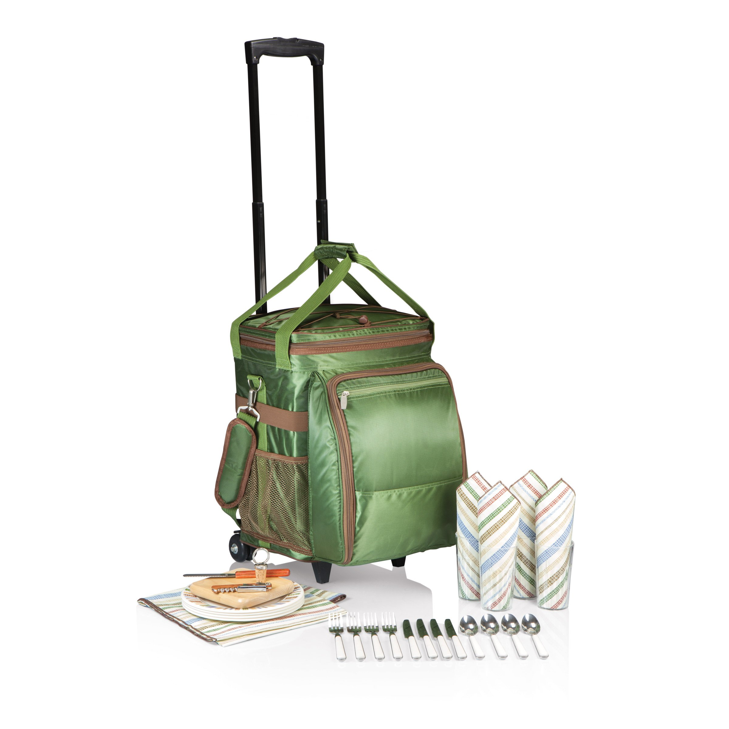 Picnic Time Avalanche Deluxe Picnic Cooler on Wheels, Service for 4, Green