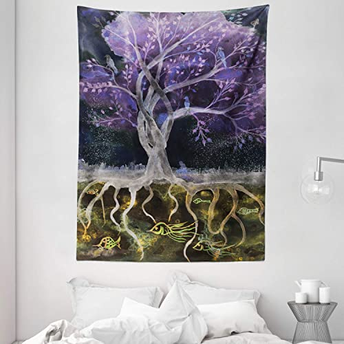 Ambesonne Tree of Life Tapestry, Psychedelic Mysterious Tree at Night with Birds and Fishes Home Art, Wall Hanging for Bedroom Living Room Dorm, 60 X 80 , Purple Black