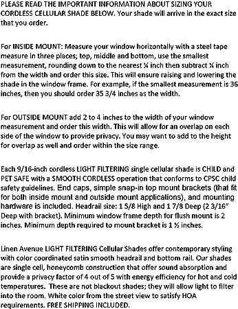 TDBU Linen Avenue U3MU5775B48 Custom Cordless 57 3//4 W x 42 to 48 H Muslin Top Down Bottom Up Light Filtering Cellular Shade
