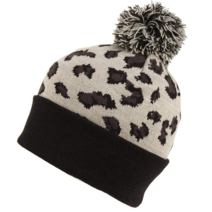26204e46ce027c BN1923 Aesthetic Classic Leopard Print Knit Pom Pom Beanie Hat (GRAY ...