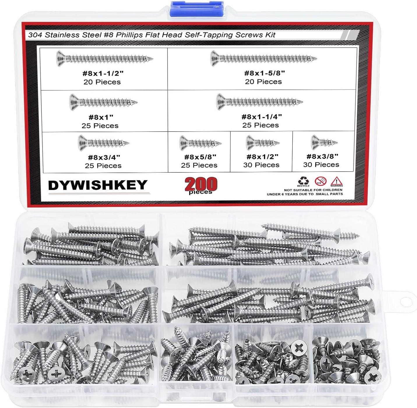 DYWISHKEY 200 Pieces #8 x 3/8