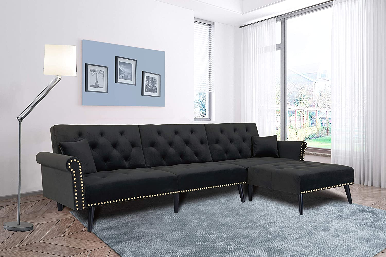 - Amazon.com: Black Sectional Sofa Sleeper Bed,JULYFOX 900 LB Heavy