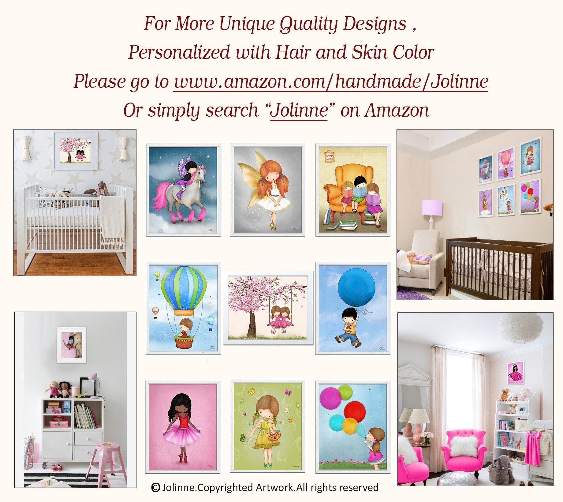 Pictures for Girls Bedroom Art Prints Nursery Illustrations Children's Room Decor 8x10/11x14 Set of 4 Custom Hair and Skin Color