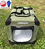 "ZuHucpts Medium Folding Soft Dog Crate Kennel Cage , Indoor & Outdoor Pet Home,3-Door Puppy Cat Travel Carrier included Handle + Straps | Free Bounds Fleece Mat + Pet Grooming Glove (28""L X 21""W X 21""H, Grass Green)"