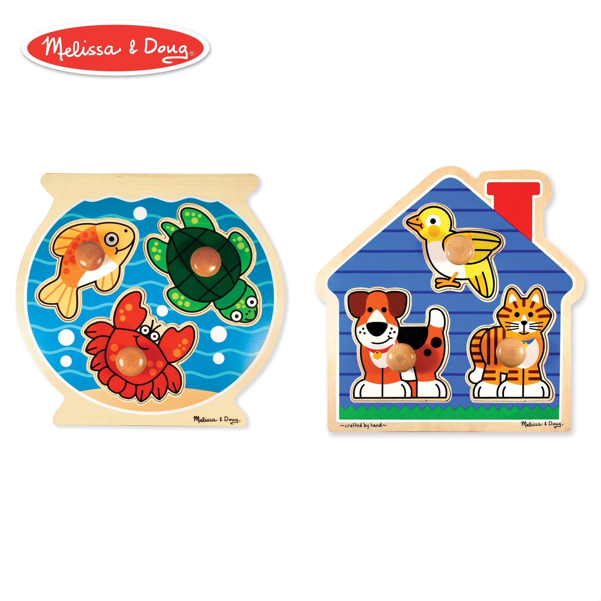Melissa & Doug Animals Jumbo Knob Wooden Puzzles Set - Fish and Pets by Melissa & Doug