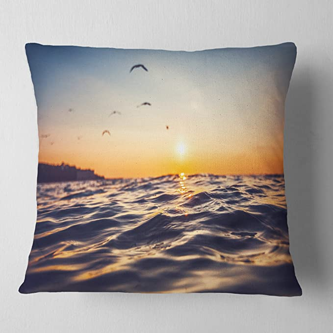 Designart Cu10666 18 18 Orange Tinged Sea Waters At Sunrise Beach Photo Throw Cushion Pillow Cover For Living Room Sofa 18 X 18 Amazon Ca Home Kitchen