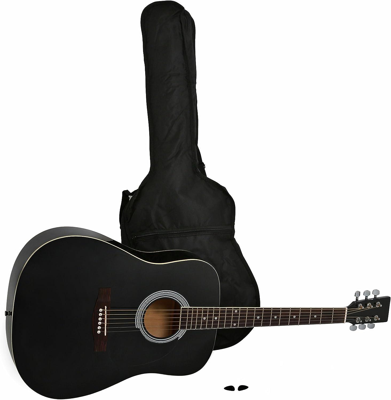 Navarra NV31 - Guitarra acústica con bolsillo, color negro