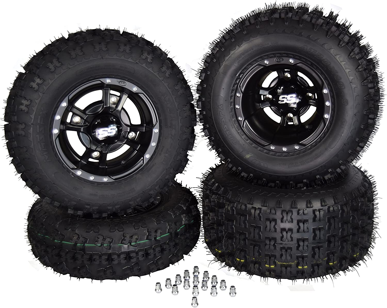 4 NEW Honda TRX450R /& TRX400EX ITP SS112 Black RIMS /& Ambush Tires Wheels kit