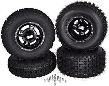 ITP SS 112 Black Front Rear Wheels Speed Racer Street Tires YFZ Raptor Banshee