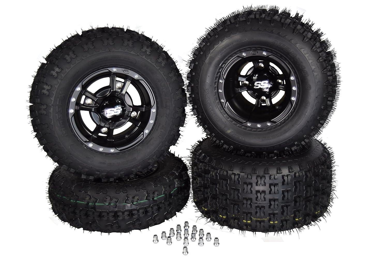 4 NEW HONDA TRX450R /& TRX400EX BLACK ITP SS112 Rims /& MASSFX Tires Wheels kit