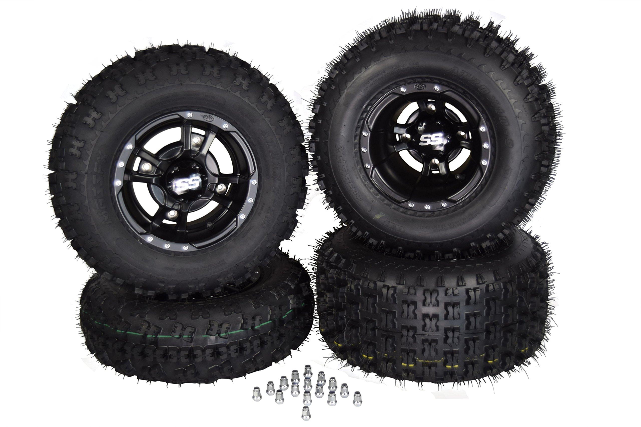 SET 4 YAMAHA RAPTOR 660R 700 Black ITP SS112 Rims & MASSFX Tires Wheels kit