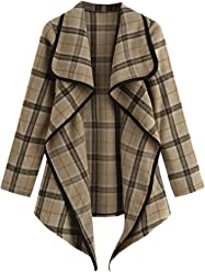 af04a42cb7b9 SheIn Women's Open Front Tartan Plaid Waterfall Neck Cardigan Jacket