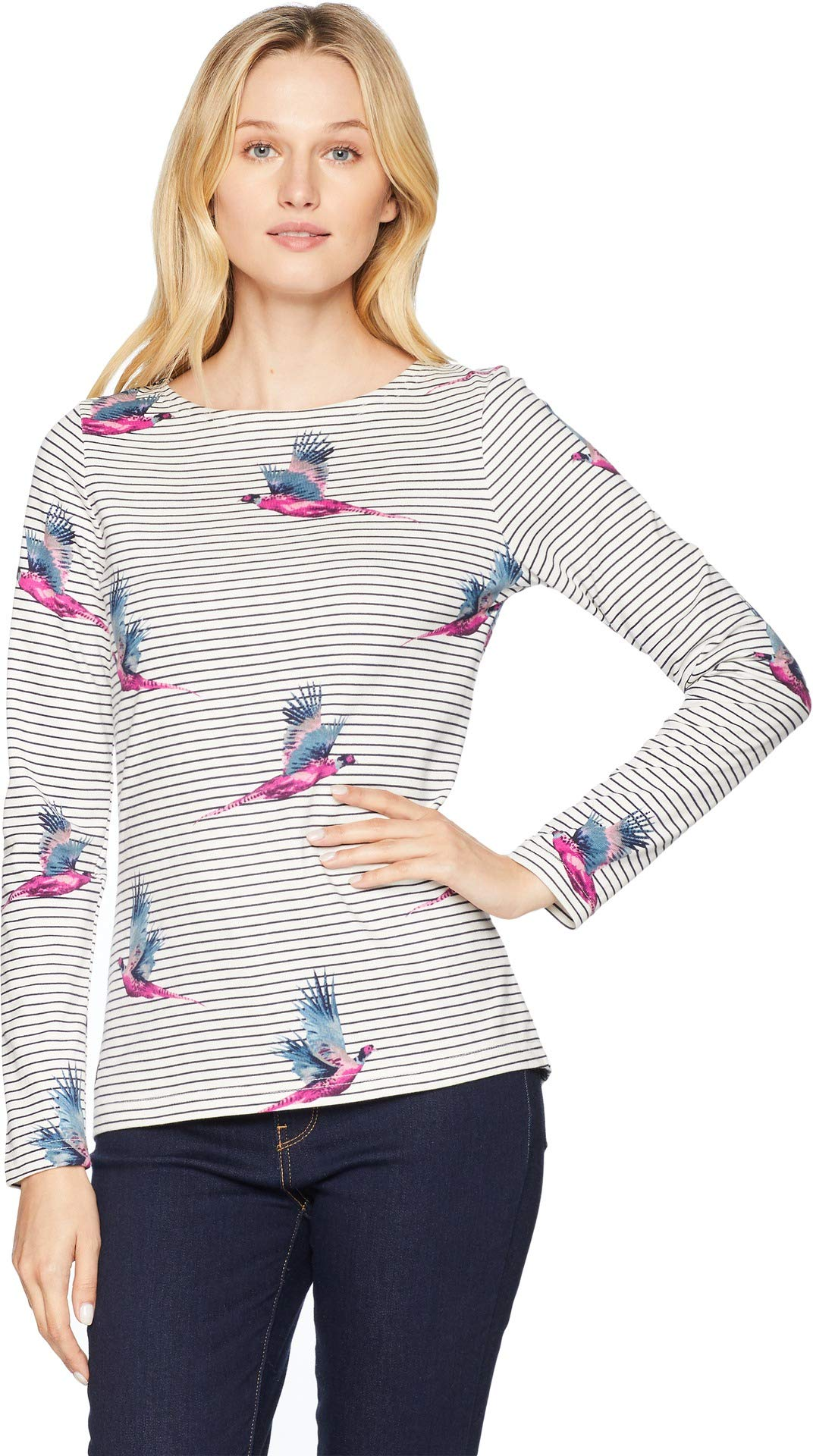 Joules Women's Harbour Printed Jersey Top Cream Painted Pheasant 2