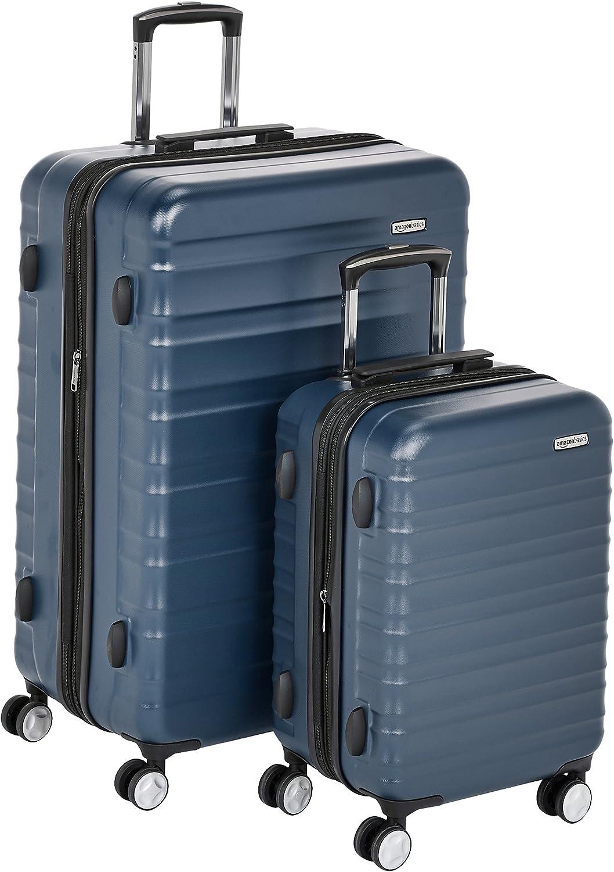 AmazonBasics - Maleta rígida «Hardside» de alta calidad, con ruedas giratorias y cerradura TSA incorporada - Juego de 2 unidades (55 cm, 78 cm), Azul marino