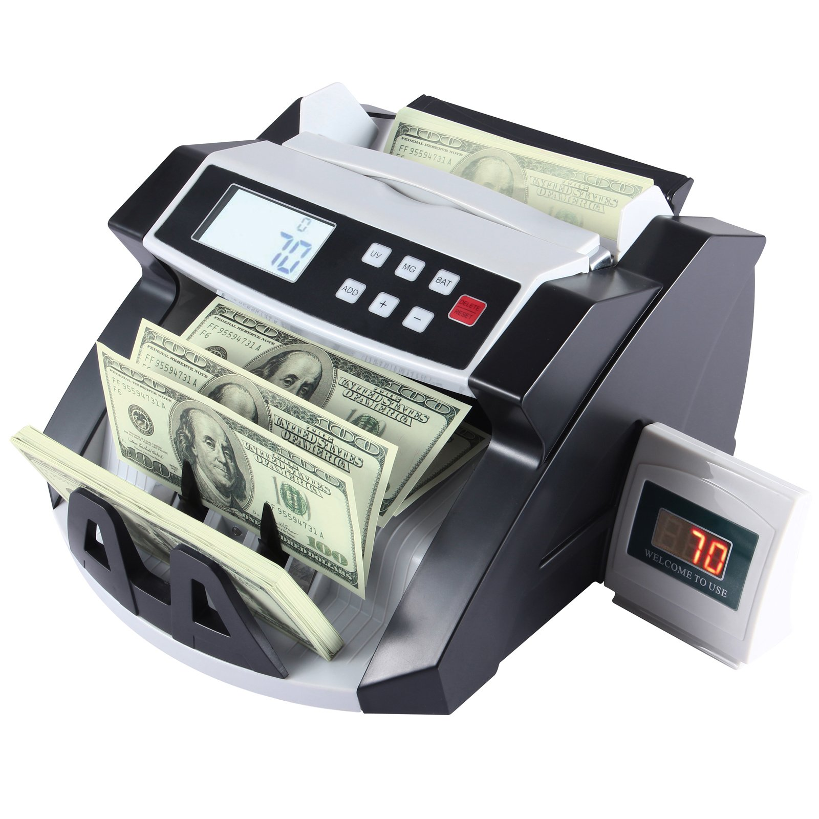 KUPPET Automatic Money Currency Cash Counting Machine Worldwide Cash Bill Counter-Bank Counterfeit Detector with with UV/MG Counterfeit Detection and LCD Display-Black