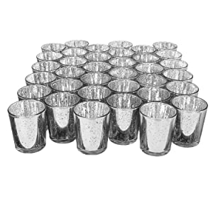 Royal Imports Mercury Speckled Glass Votive Tealight Candle Holder for Weddings, Parties, Holiday & Home Decor, Silver, Set of 36 - unfilled