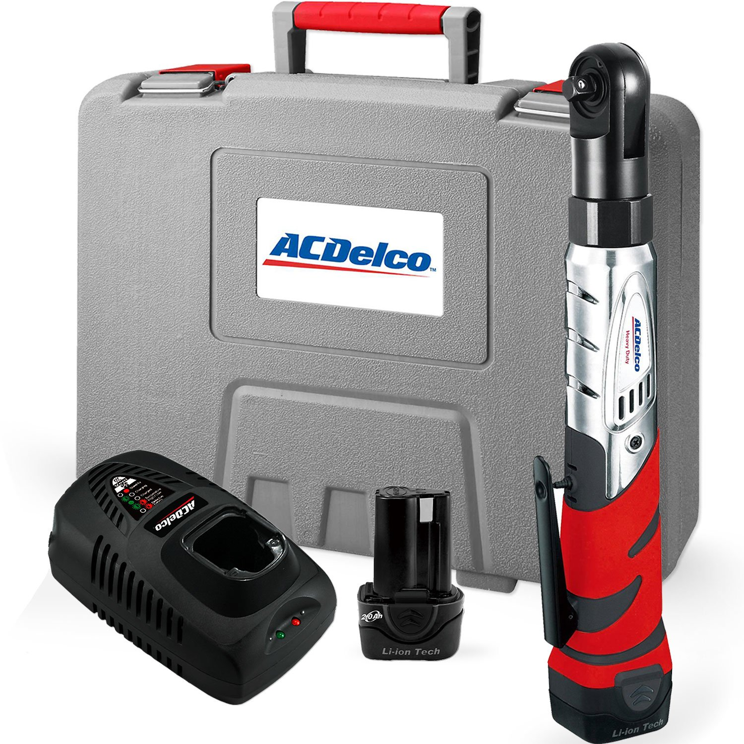 #2 - ACDelco Cordless 12V Heavy Duty 3/8 Ratchet Wrench Tool Set with 2 Li-ion Batteries and Charger Kit, ARW1201