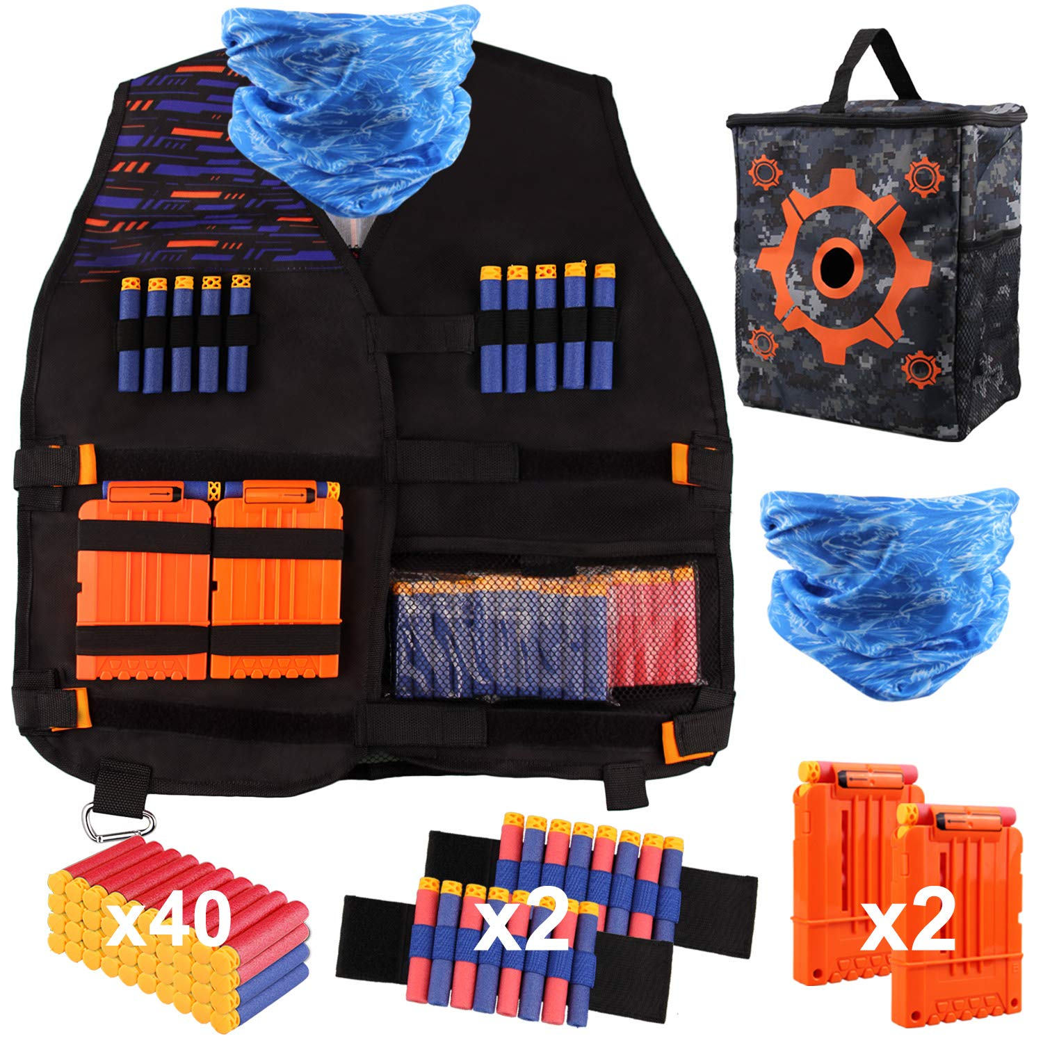 Satkago Tactical Vest Kit Vests Compatible with Nerf Guns N-Strike Elite Series, with 40Pcs Refill Darts, Target Pouch Storage Bag, Tactical Mask, 2 Wristbands and 2 Quick Reload Clips by Satkago