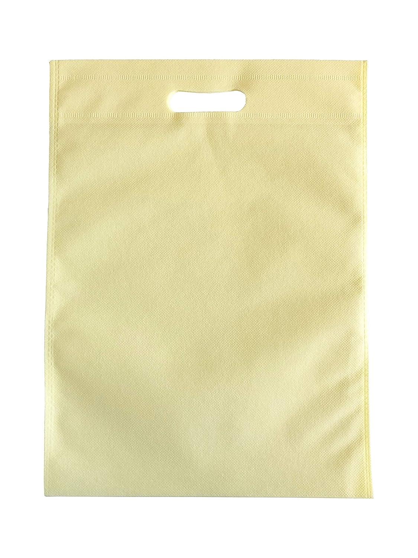 100sacchetti 30cm x 40cm Merchandise sacchetti in tessuto non tessuto borse della spesa ecologica, riutilizzabile, borse per la vita–colore avorio earth non woven