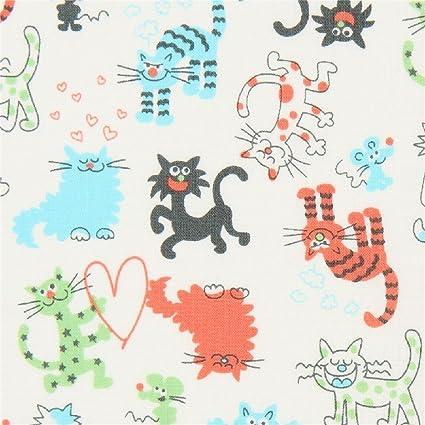 Tela de Japón con Gatos, diseño: Miyako Kawaguchi, de Kei Fabric