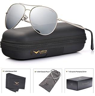 badb9270991 LUENX Aviator Sunglasses Men Women Mirror Polarized UV400 Metal Frame 60MM  (Silver -5
