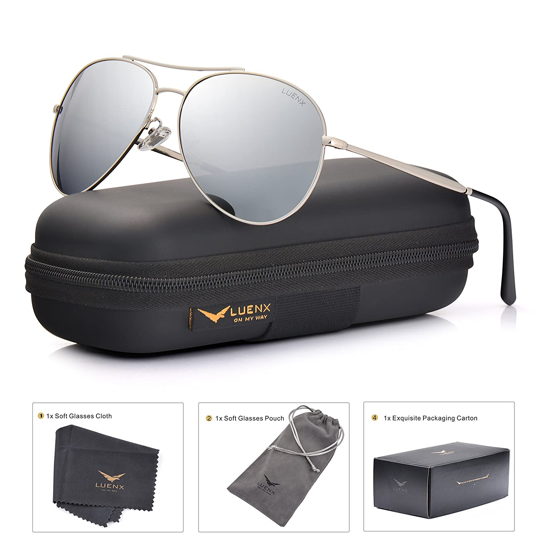 63deed7436b Amazon.com  LUENX Aviator Sunglasses Men Women Mirror Polarized UV400 Metal  Frame 60MM (Silver -5