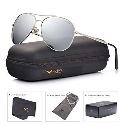 fbeb77014e Amazon.com  LUENX Aviator Sunglasses Men Women Mirror Polarized UV400 Metal  Frame 60MM (Silver -5