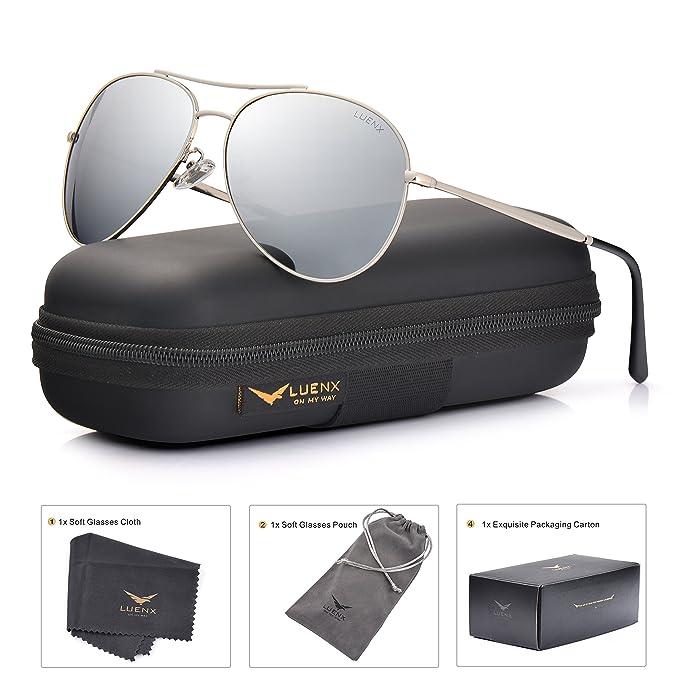 170555df27151 LUENX anteojos de Sol de Aviador para Hombre y Mujer