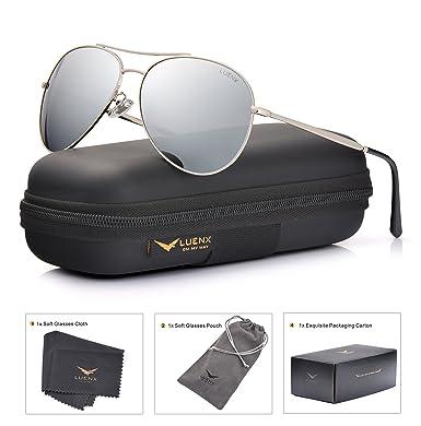 LUENX Aviator Gafas de Sol polarizadas Hombres Mujeres con Accesorios Metal Frame UV 400 Conducción Moda 60 mm: Amazon.es: Deportes y aire libre