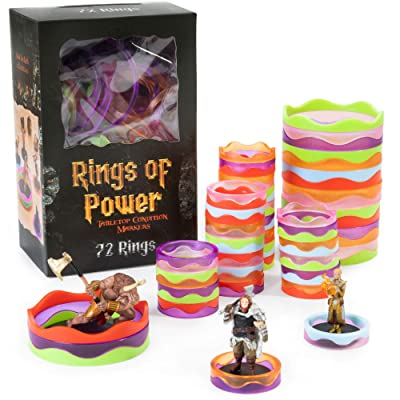 Rings of Power - Tabletop Condition Markers - RPG Board Game Accessories - Colorful Ring Set for HP, Effects, Damage, Spells, & Stats - for DND & More Strategy Games - 72 Pieces, Standard & Mini Size: Toys & Games