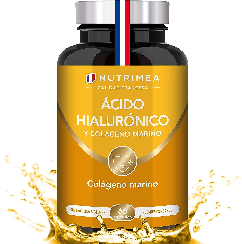 Colágeno Marino y Acido Hialurónico Puro | Con Vitamina A y Vitamina C | Hidratación Piel Antiedad Antirrugas Reduce Líneas de Expresión | Huesos y Articulaciones | 60 Cápsulas Fabricado en Francia: