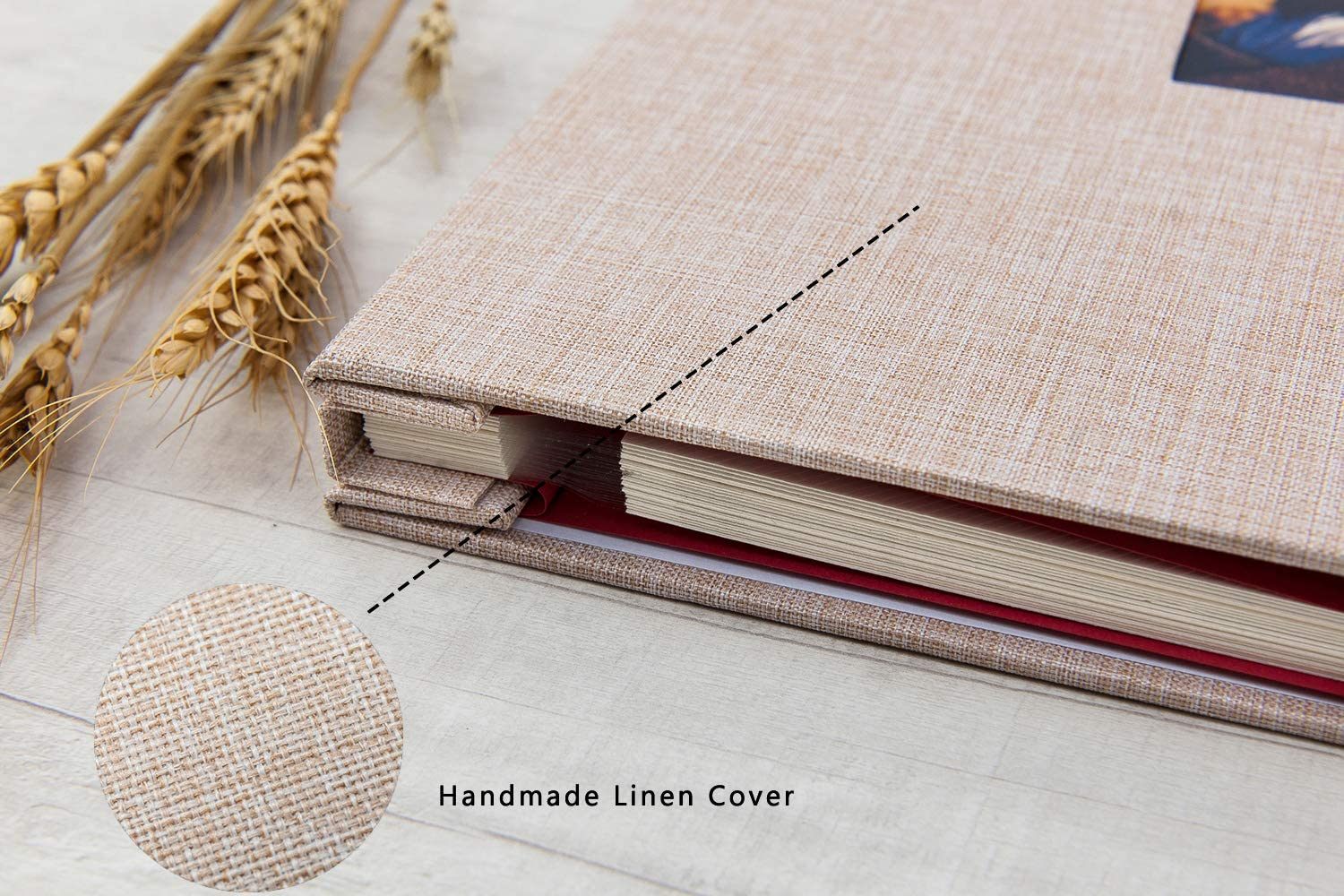 Beige 13.2x12.8 Inch Large Self Adhesive Photo Album Magnetic Scrapbook Album 40 Magnetic Double Sided Pages Linen Hardcover DIY Photo Album with A Metallic Marker Pen