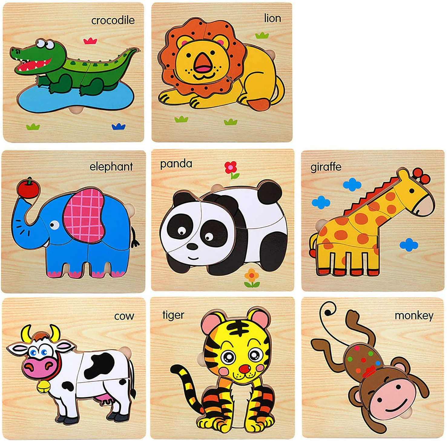 Eliiti Wooden Farm Animals Jigsaw Puzzle for Kids 3 to 5 Years Old Boys Girls