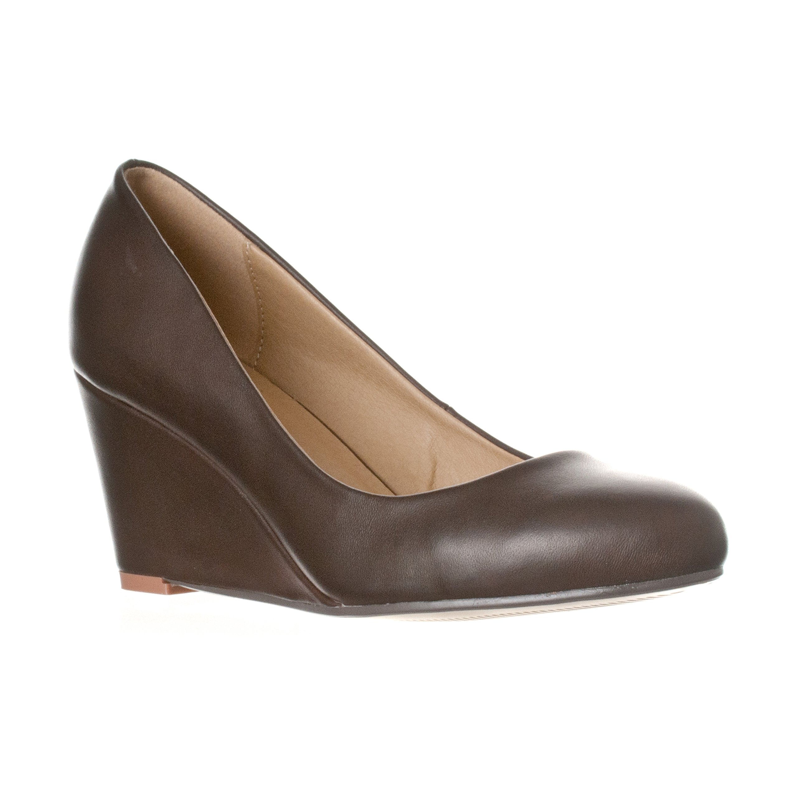 Riverberry Women's Leah Mid Heel Round Toe Wedge Pumps, Coffee PU, 9