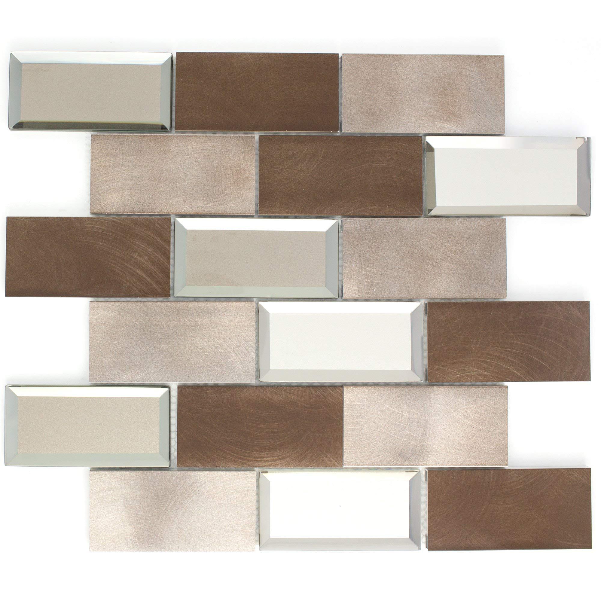 TAFMG-01 2x4 Subway Tile Bronze Almiunum Mix Mirror Glass Mosaic Tile-Kitchen and Bath backsplash Wall Tile