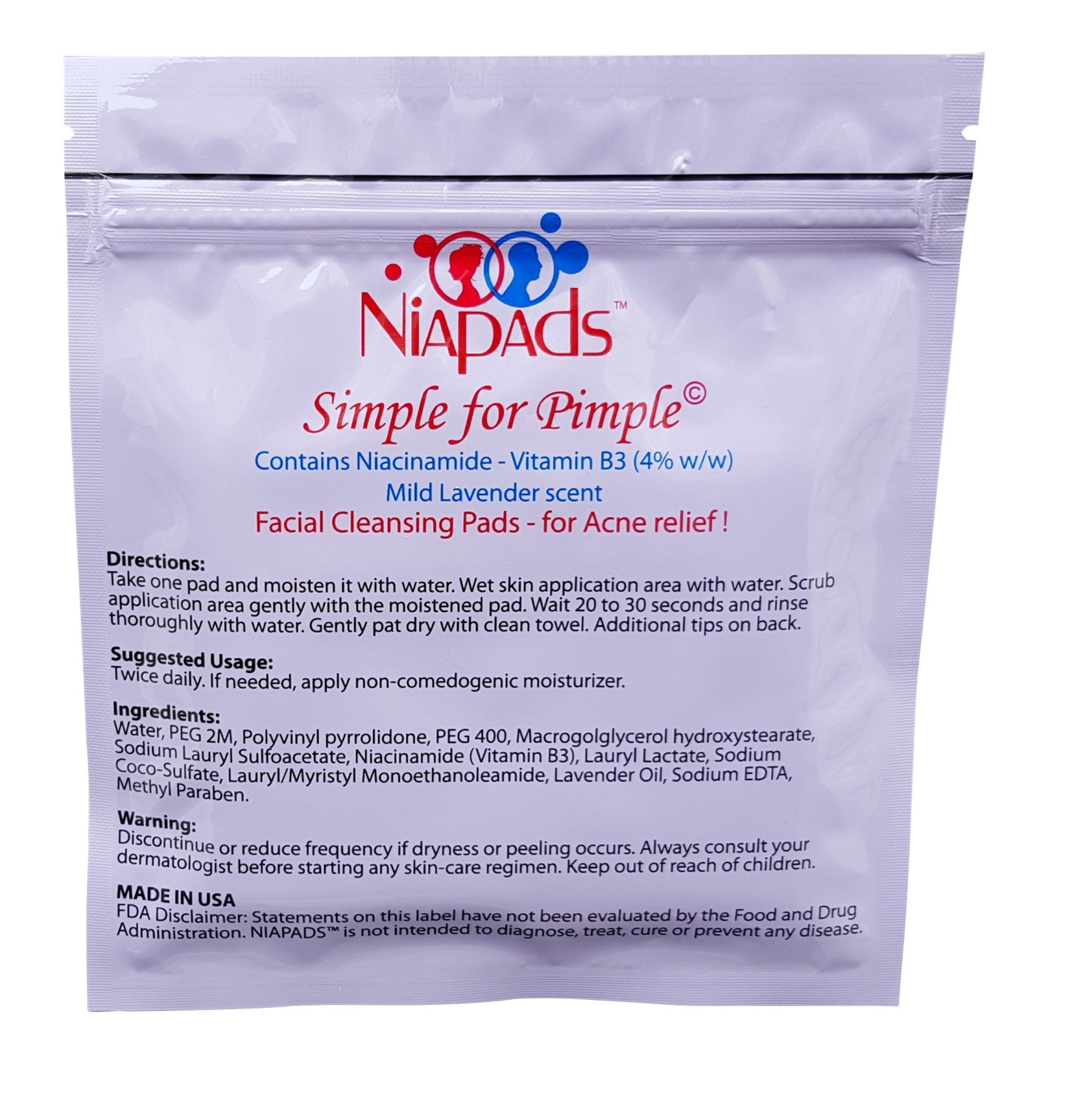 Niapads: Treatment for Moderate to Severe Acne including Cystic Acne. Reduces Acne Scars and Blackheads. Contains Niacinamide and Lavender oil. Simple one-step Acne Treatment. 30 pads/pack.