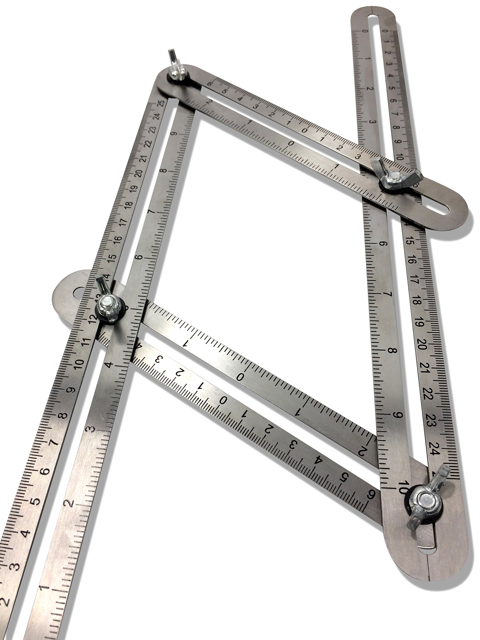 Upgraded Stainless Steel Multi-Angle Measuring Ruler Angle-izer Template Tool Construction Precision Steel Foldable For Carpenters Builders DIY 7Projects Measure Make Bulls Eyes Arches By ALLANGLES by ALLANGLES (Image #6)