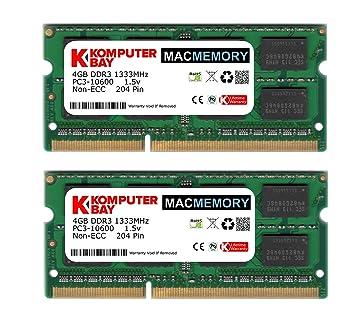 Komputerbay MACMEMORY 8GB (2x 4GB) DDR3 PC3-10600 1333MHz SODIMM 204-Pin Memoria del ordenador portátil para Apple Mac: Amazon.es: Electrónica
