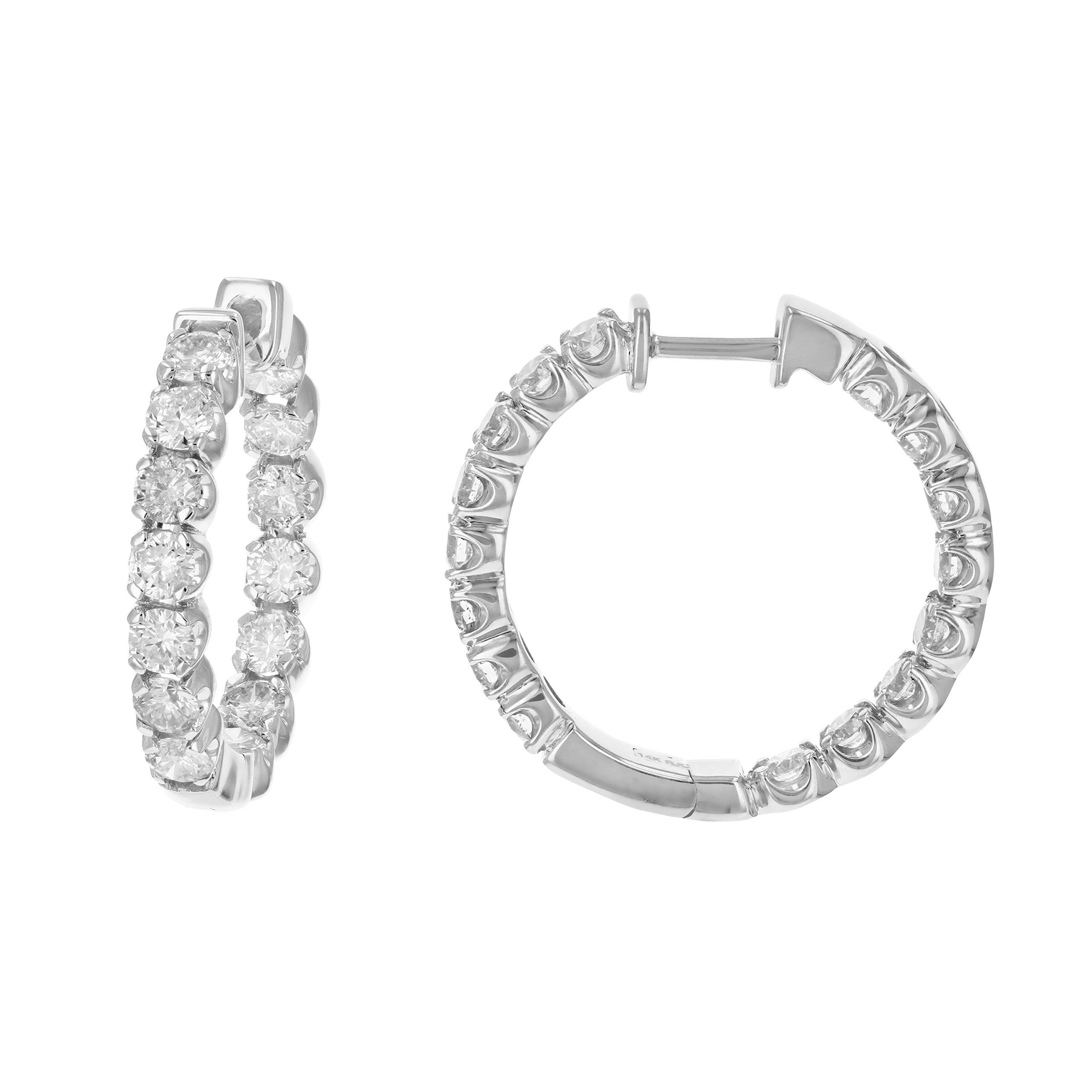 4 cttw SI2-I1 Certified 14K White Gold Diamond Inside Out Hoop Earrings (J-K)