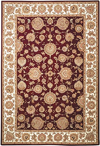 Safavieh Persian Court Collection PC123F Handmade Red and Ivory Wool Area Rug 6' x 9'