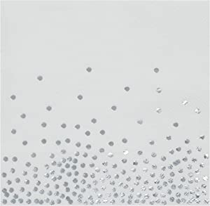Silver Foil Paper Napkins for Confetti Polka Dot Party (6.5 x 6.5 In, 50 Pack)