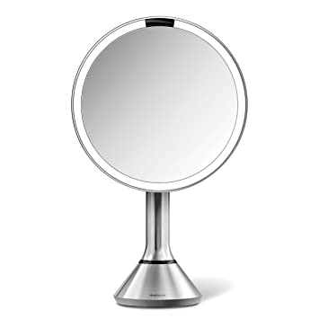Simplehuman Lighted Makeup Mirror.Simplehuman Sensor Lighted Makeup Vanity Mirror 8 Round With Touch Control Brightness 5x Magnification Brushed Stainless Steel Rechargeable And