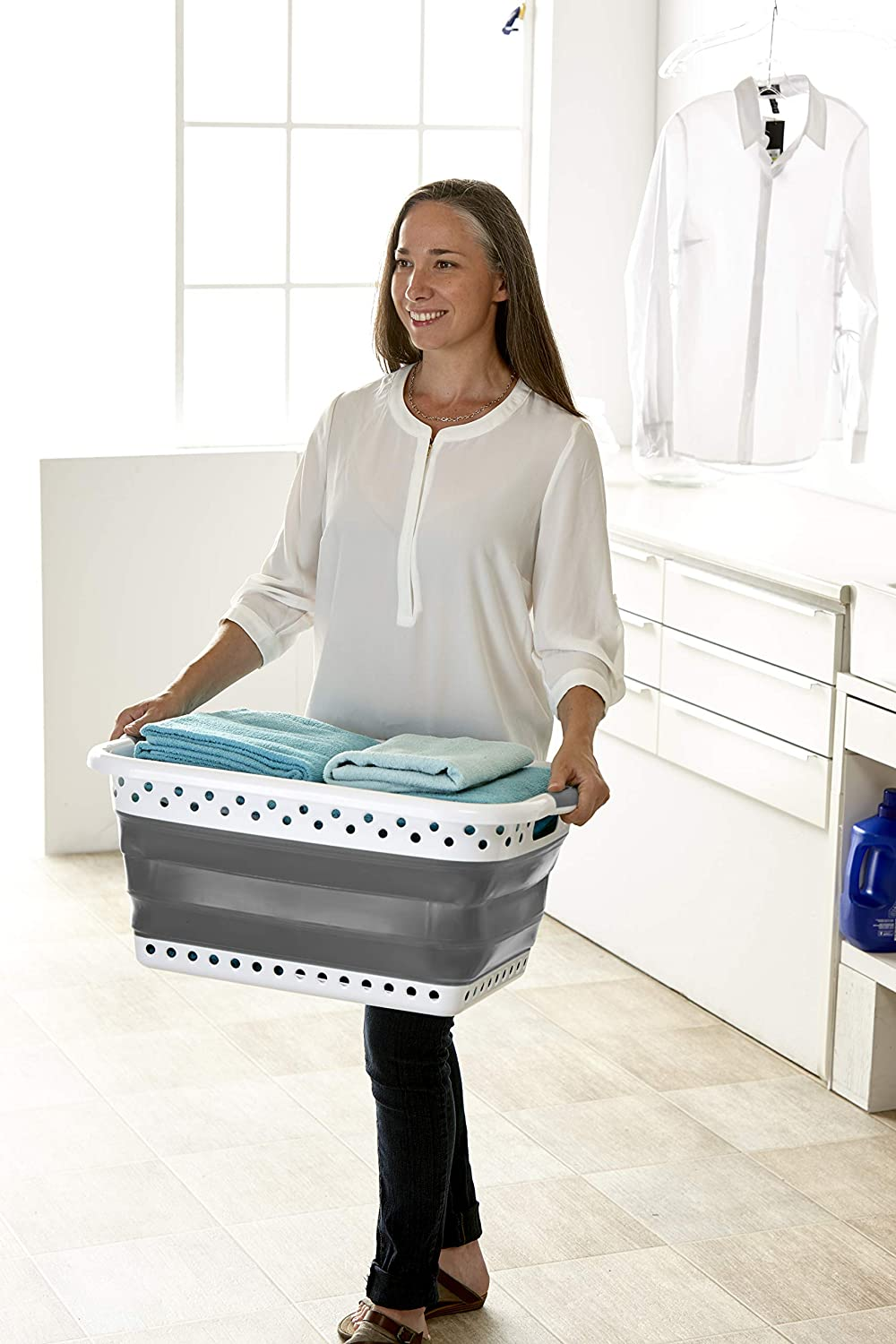 Large Rect-2 Pop /& Load Collapse /& Store Collapsible Basket Ultra-Slim Utility 25 High Dual Handle Rectangular//Folds to 3 in Grey Onyx POP /& Load Laundry