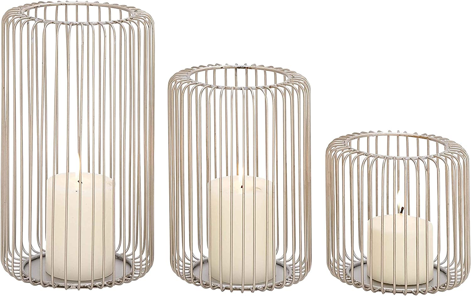 6 x 9 x 12 Set of 3 Deco 79 54254 Silver Iron Candle Holders