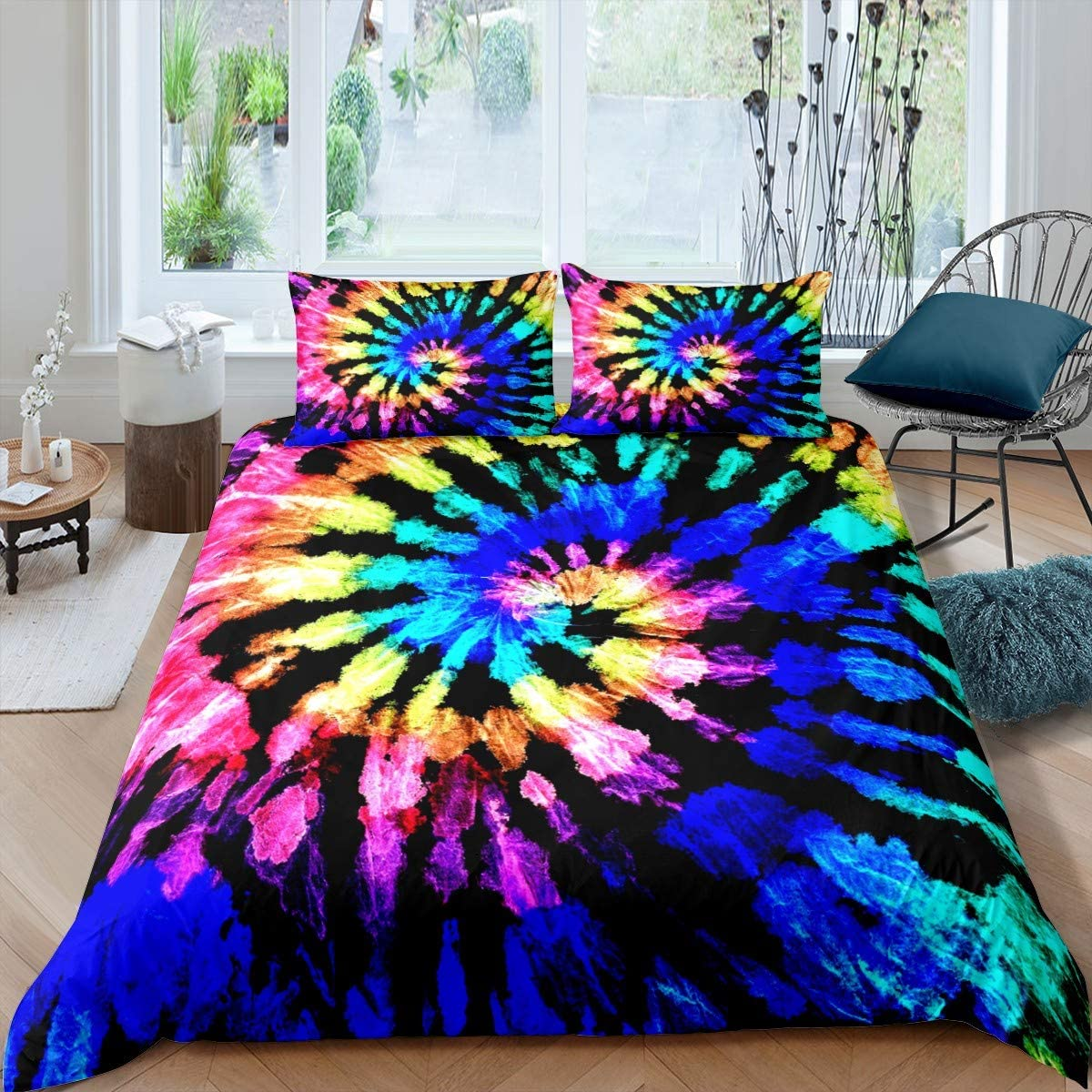 Feelyou Boho Psychedelic Duvet Cover Set for Kids Girls Adults Colorful Tie Dye Bedding Set Kids Bohemian Gypsy Comforter Cover Set Exotic Tribal Style Quilt Cover Room Decor 3Pcs Bedspread King Size