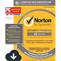 Norton Security Premium – 10 Devices – 1 Year Pre-Paid Subscription – with Auto-Renewal [PC/Mac/Mobile Download]
