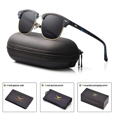 9e6c65ba9e9 Mens Womens Clubmaster Polarized Sunglasses UV 400 Black Lens Glossy Black  and Blue Retro Classic Frame
