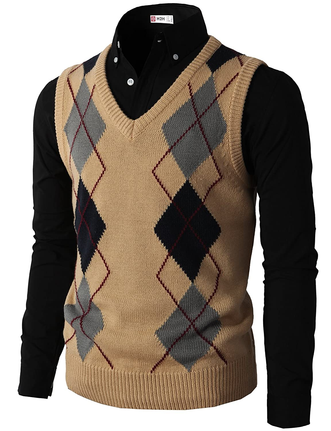 Men's Vintage Inspired Vests H2H Mens Casual Slim Fit Argyle V-Neck Golf Sweater Vest Of Various Colors $29.70 AT vintagedancer.com