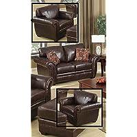 SC Furniture Ltd Brown Leather 3 Seater Sofa Leather 2 Seater Sofa Armchair Suite HIGHBURY