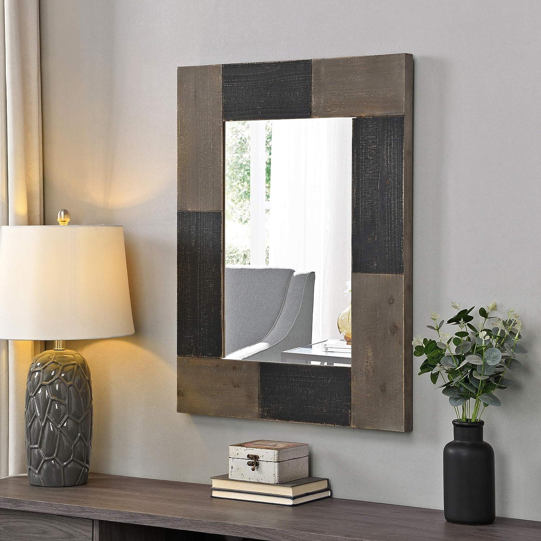 FirsTime & Co. Black Mason Farmhouse Planks Mirror, American Designed, Black, 24 x 1 x 31.5 inches